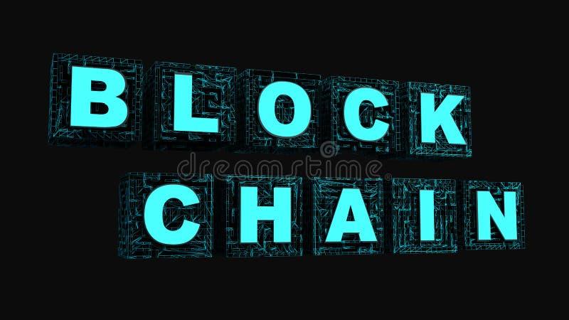 Blockchain del texto en el cubo de la fila ilustración del vector