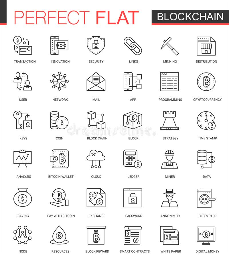 Blockchain den tunna linjen rengöringsduksymboler för bitcoincryptocurrencyen ställde in Design för översiktsslaglängdsymbol vektor illustrationer