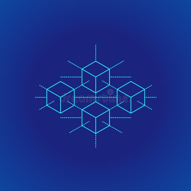 Blockchain distribuyó el ejemplo de la tecnología del libro mayor ilustración del vector