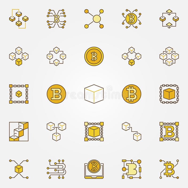 Blockchain ed icone di concetto di vettore colorate cryptocurrency illustrazione vettoriale