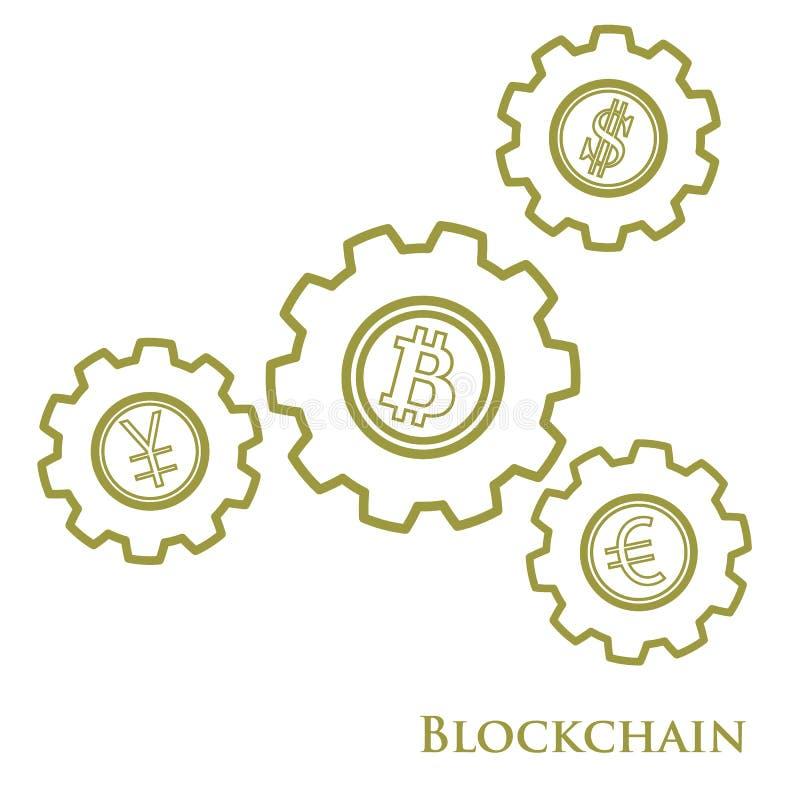 Blockchain Ejemplo de la transferencia monetaria digital del web Ingenio del engranaje ilustración del vector