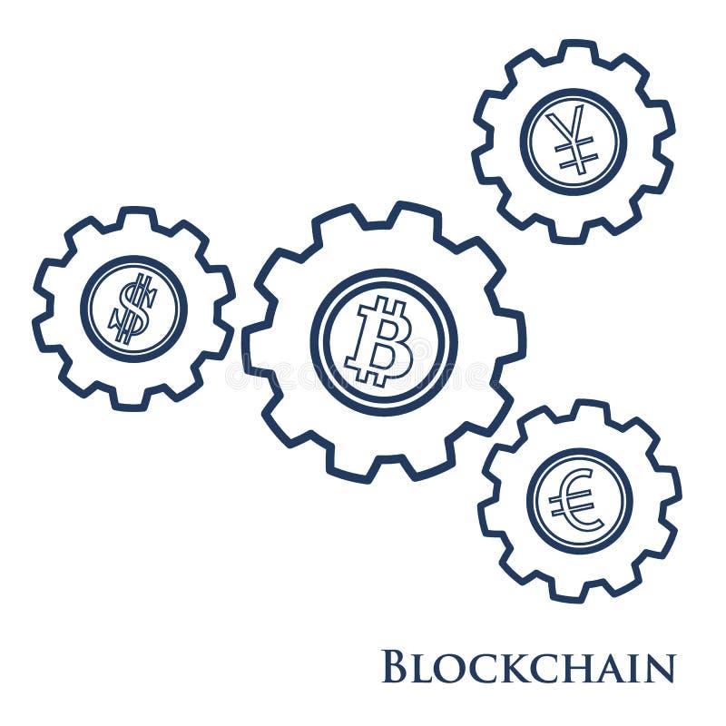 Blockchain Ejemplo de la transferencia monetaria digital del web Ingenio del engranaje libre illustration