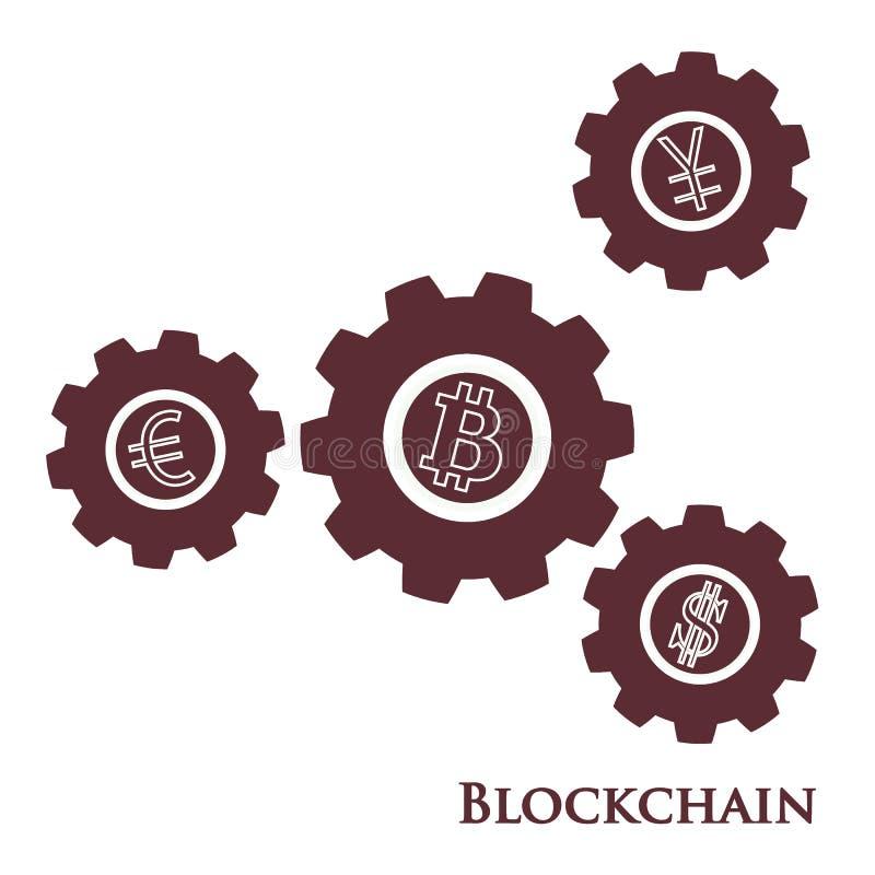 Blockchain Ejemplo de la transferencia monetaria digital del web Ingenio del engranaje stock de ilustración