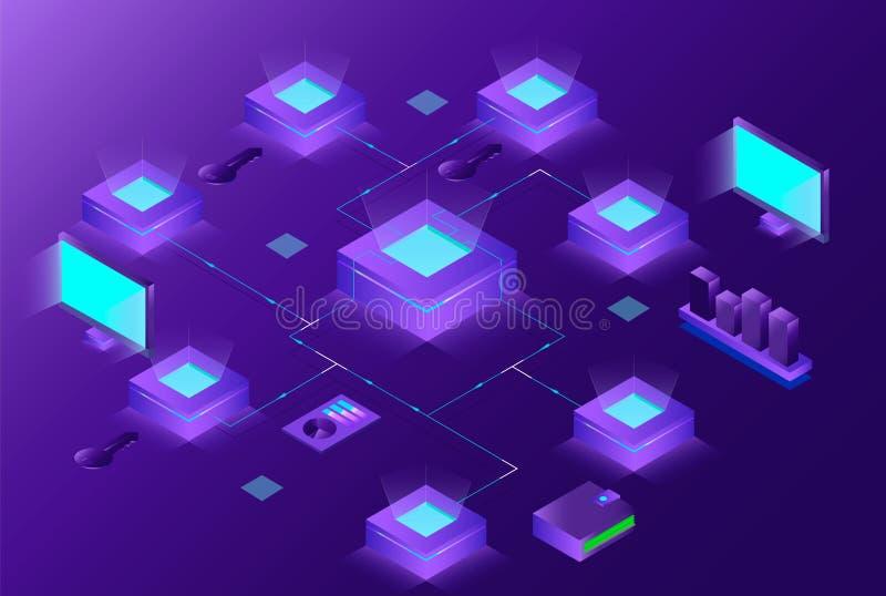 Blockchain en de isometrische samenstelling van Cryptocurrency met mensen elektronische handel, bitcoin handel, analisten en mana royalty-vrije illustratie
