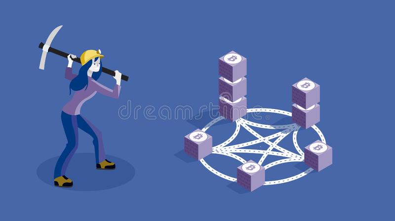 Blockchain Concept Slider Banner with Miner Woman. Blockchain encryption concept slider banner vector illustration with miner woman mining bitcoins royalty free illustration