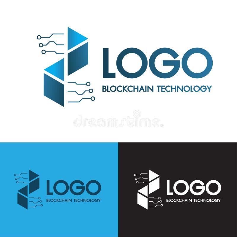 Blockchain f?rbinder teknologi och den digitala moderna linjen abstrakt logobegrepp f?r symbol p? bakgrund f?r 3 f?rg Bitcoin cry stock illustrationer