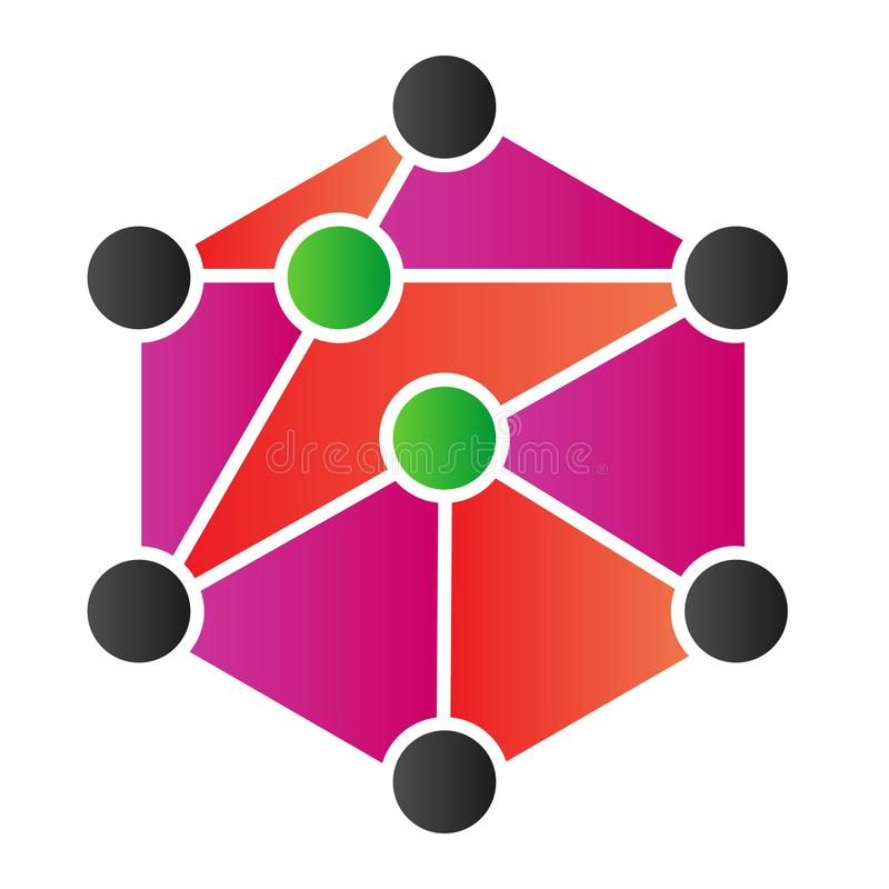Blockchain flat icon. Cube network color icons in trendy flat style. Cube structure gradient style design, designed for. Web and app. Eps 10 vector illustration