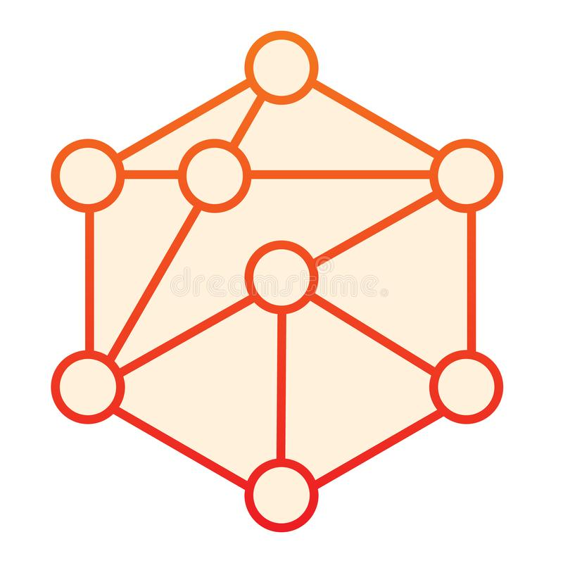 Blockchain flat icon. Cube network orange icons in trendy flat style. Cube structure gradient style design, designed for. Web and app. Eps 10 vector illustration