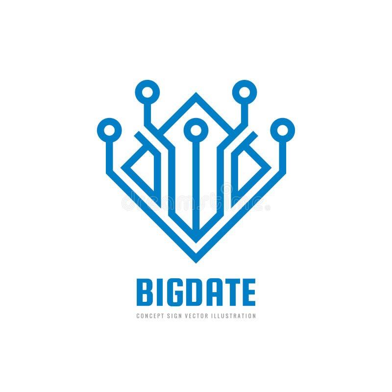 Blockchain grande de la fecha - ejemplo del vector de la plantilla del logotipo del negocio del concepto Muestra creativa de la t ilustración del vector