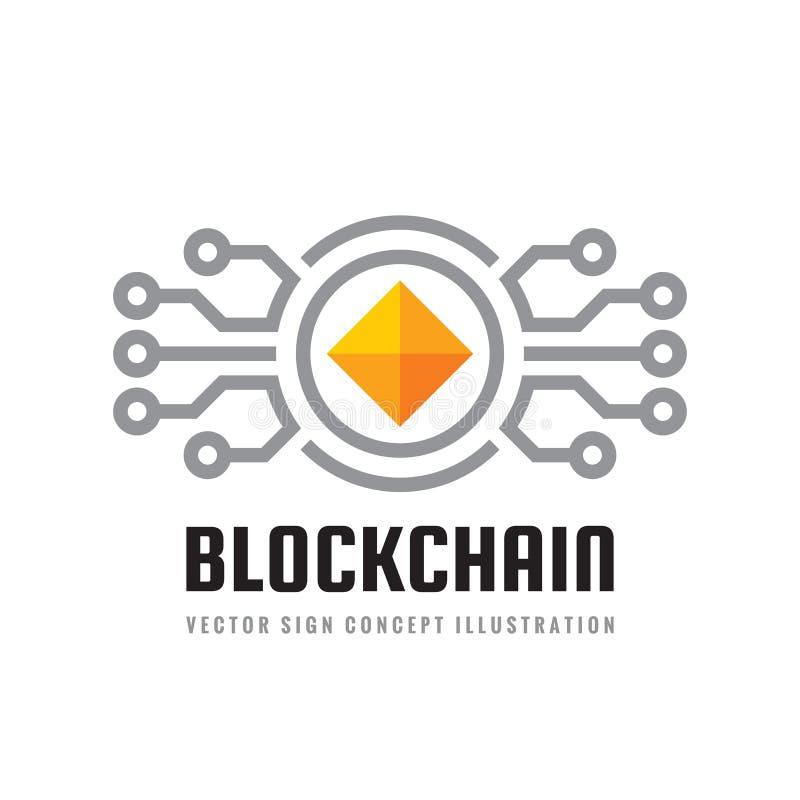 Blockchain - het malplaatje vectorillustratie van het conceptenembleem Toekomstig technologie creatief teken Digitaal cryptocurre stock illustratie