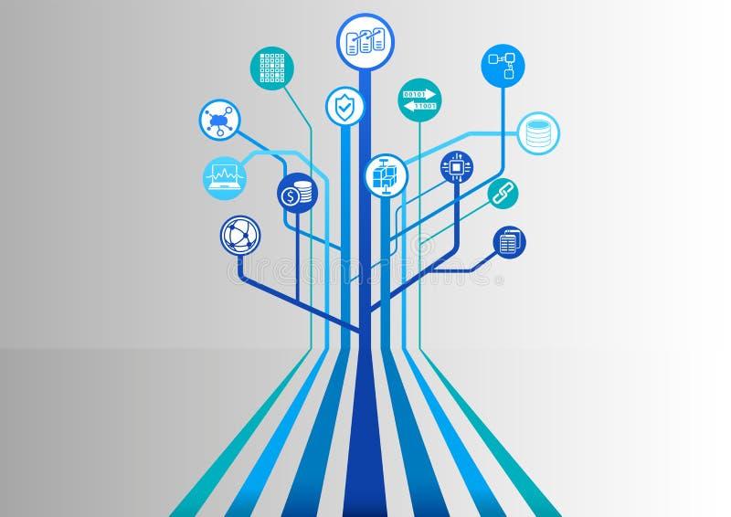 Blockchain-Hintergrund mit verschiedenen Ikonen mögen dezentralisierte Datenbank, anonymized Übertragung und Schlüssel-währung lizenzfreie abbildung
