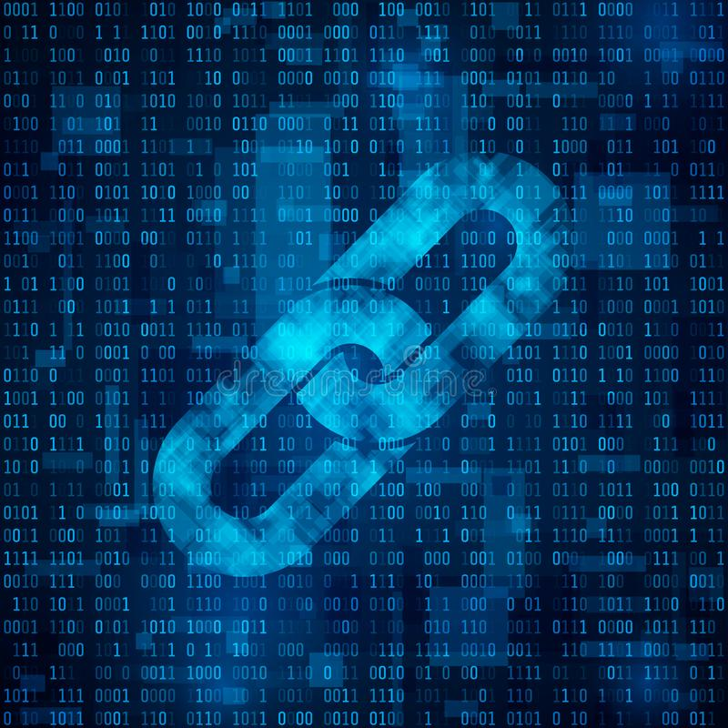 Blockchain hyperlink symbol na binarnym kodzie Łańcuszkowy symbol na abstrakcjonistycznym błękitnym matrycowym tle ilustracja wektor