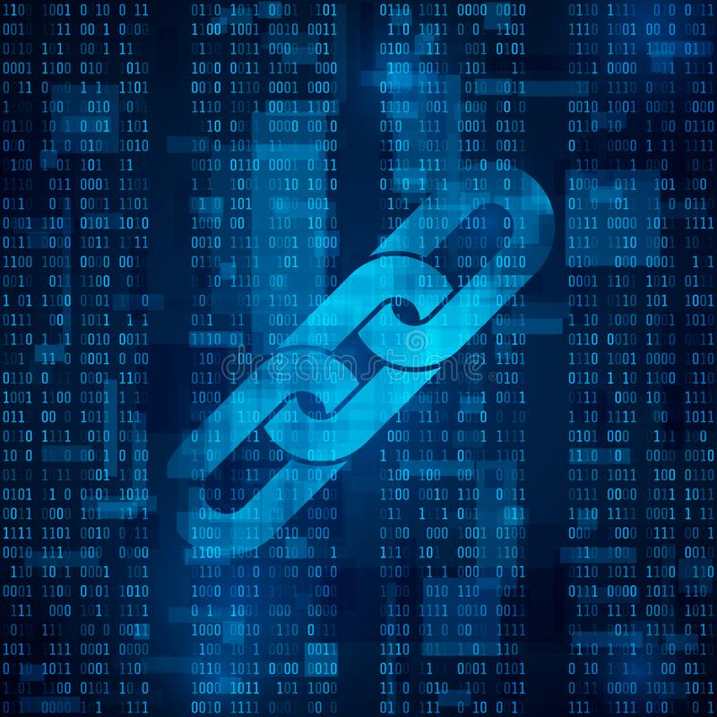 Blockchain hyperlink symbol na binarnym kodzie Abstrakcjonistyczny błękitny matrycowy tło royalty ilustracja