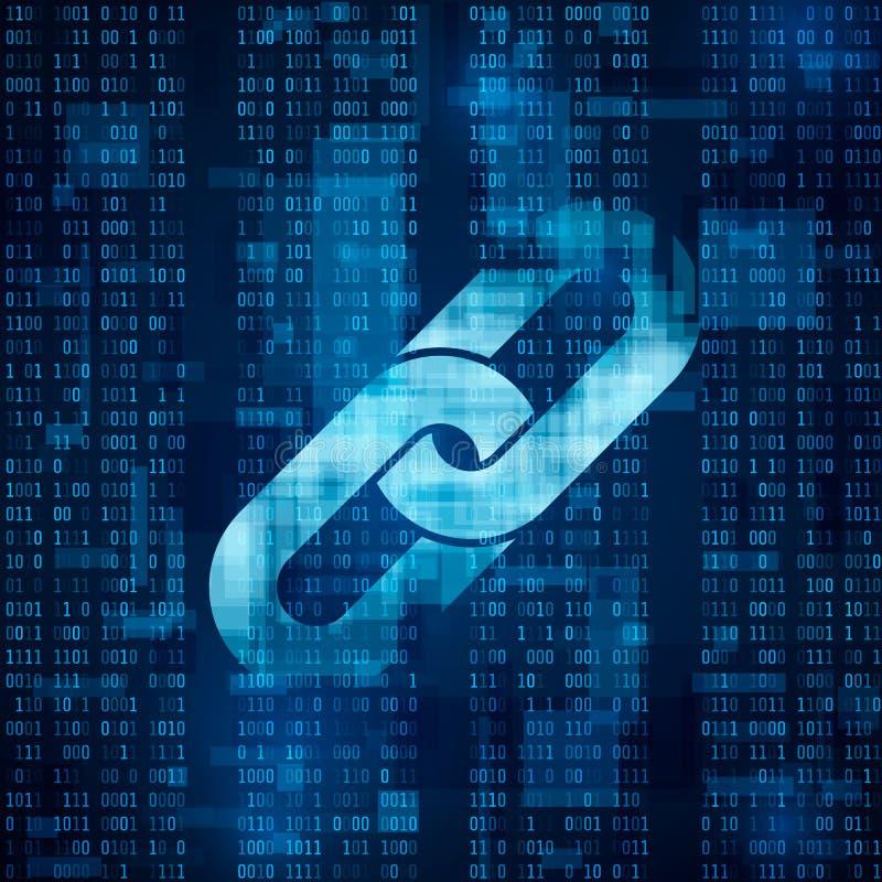 Blockchain-Hyperlinksymbol auf binär Code stock abbildung