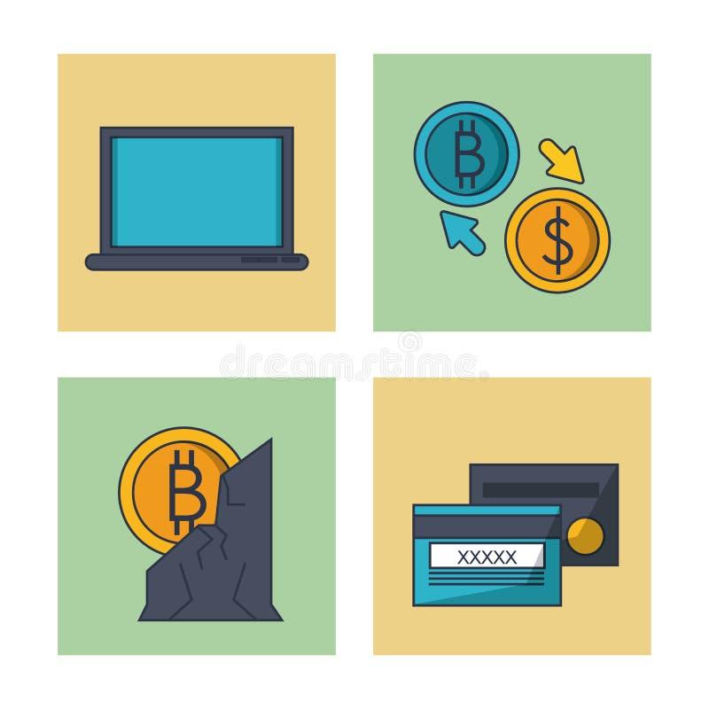 Blockchain i bitcoin royalty ilustracja