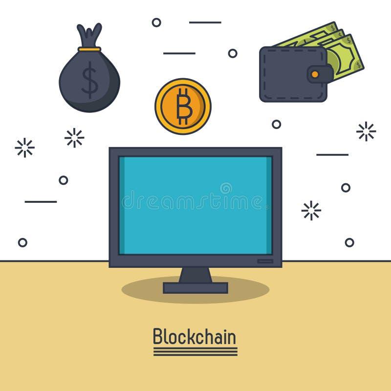Blockchain i bitcoin ilustracja wektor