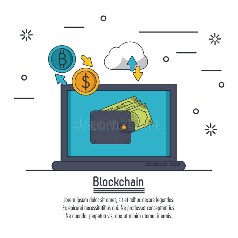 Blockchain i bitcoin ilustracji