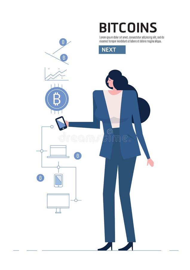 Blockchain i Bitcoin pojęcie ilustracji