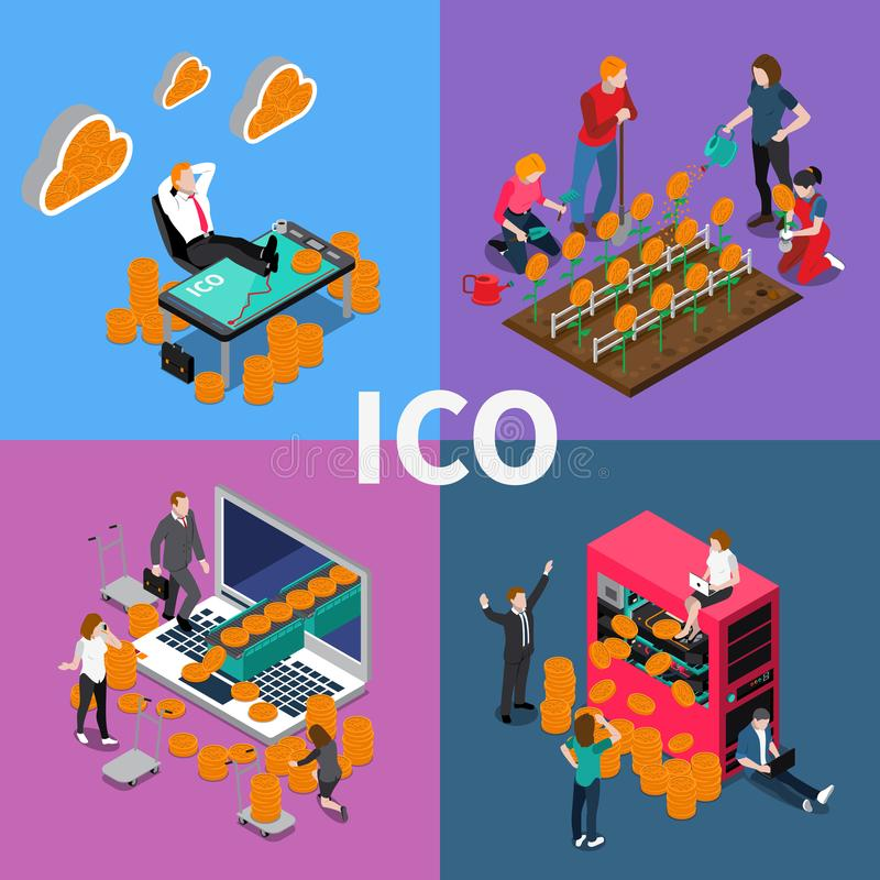 Blockchain ICO Isometric Concept stock illustration