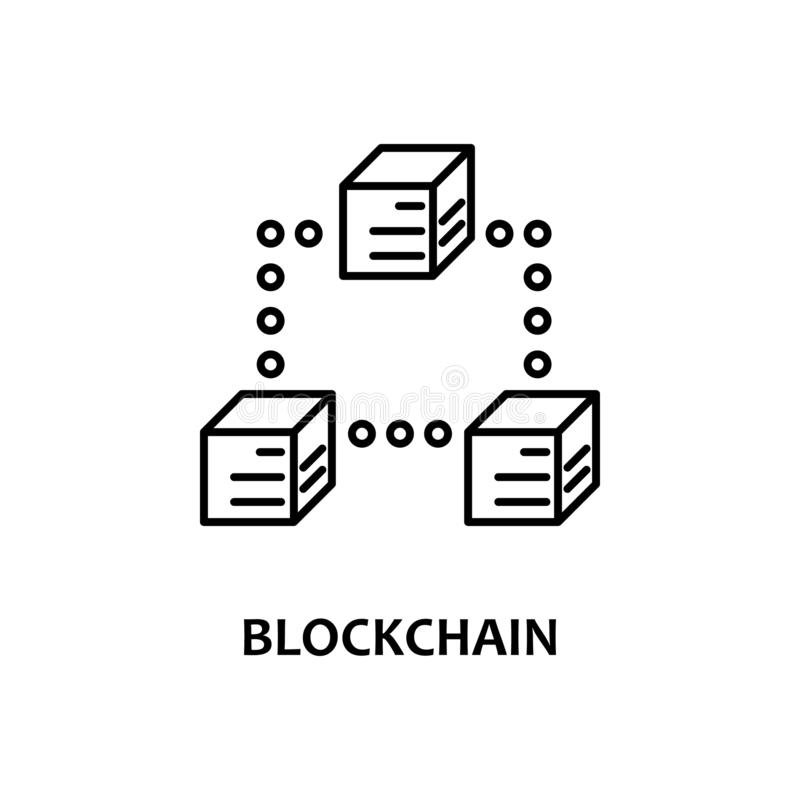 blockchain icon with name. Element of crypto currency for mobile concept and web apps. Thin line blockchain icon can be used for vector illustration