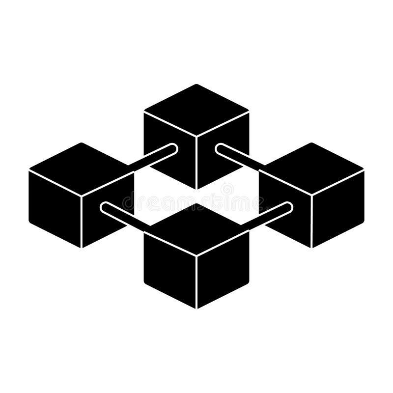 Blockchain icon vector simple minimal 96x96 pictogram for Minimal art vector