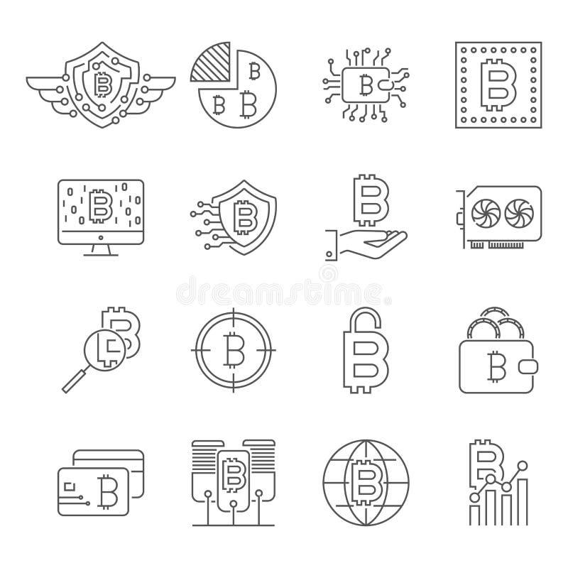 Blockchain, icone di Cryptocurrency messe Bitcoin, estrazione mineraria, BTG, BTC, illustrazione vettoriale