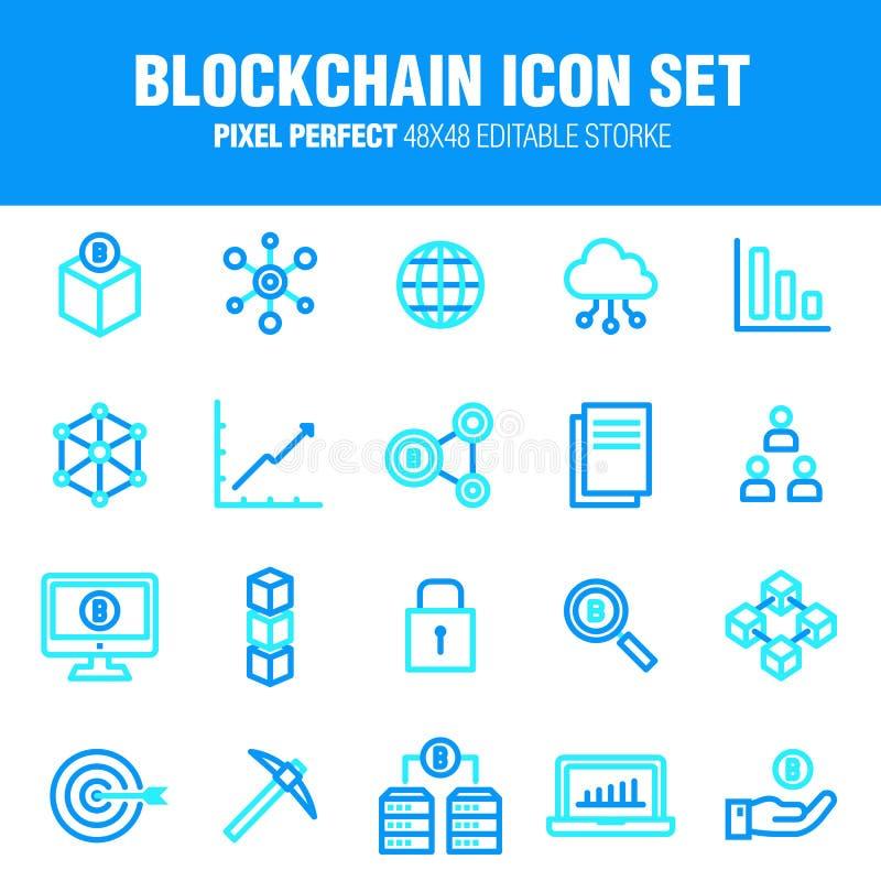 BLOCKCHAIN ikona USTAWIAJĄCA - blokowy łańcuch ilustracji
