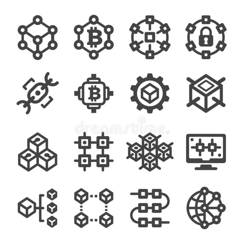blockchain Ikone vektor abbildung