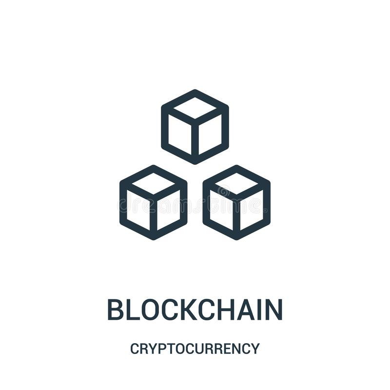 blockchain ikony wektor od cryptocurrency kolekcji Cienka kreskowa blockchain konturu ikony wektoru ilustracja ilustracji