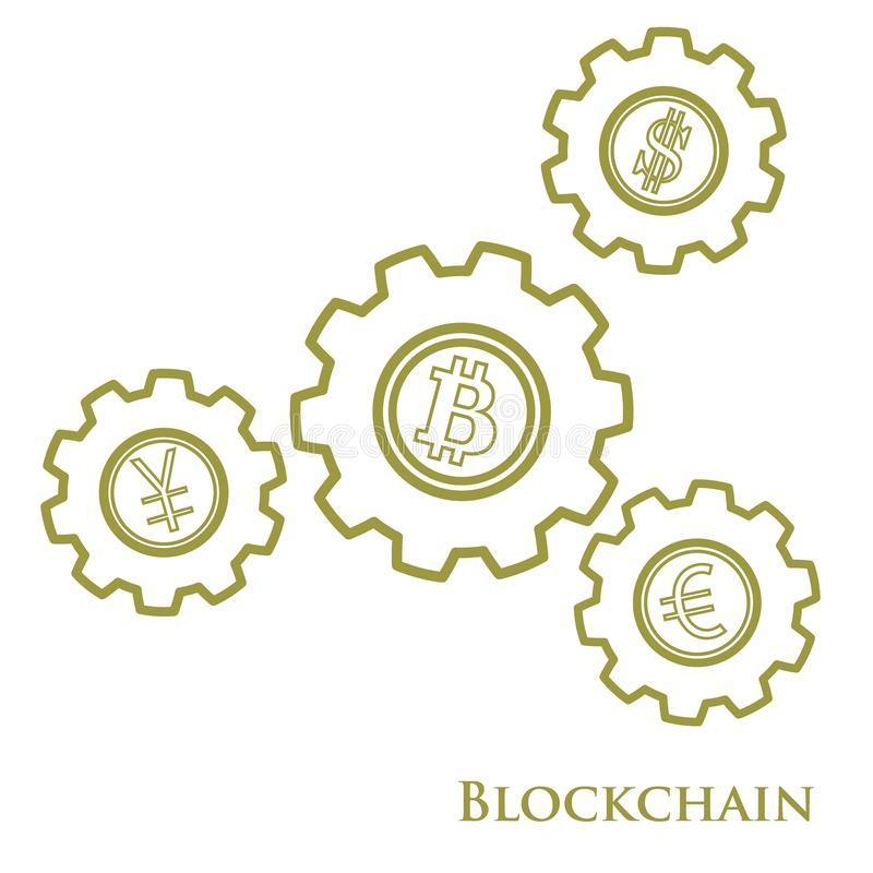 Blockchain. Illustration of digital web money transfer. Gear wit. H bitcoin, dollar, euro and yen. Financial update, electronic technology. Mining vector illustration
