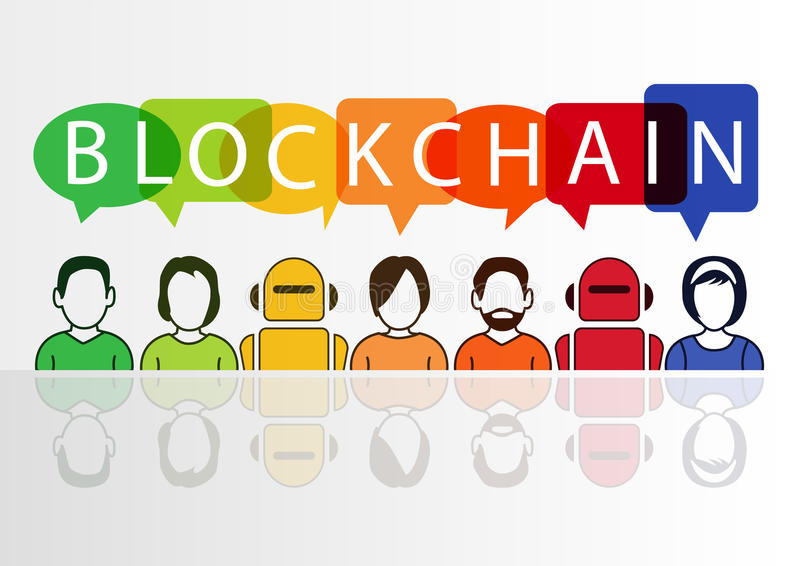 Blockchain illustration with text displayed in colorful speech bubbles.  stock illustration