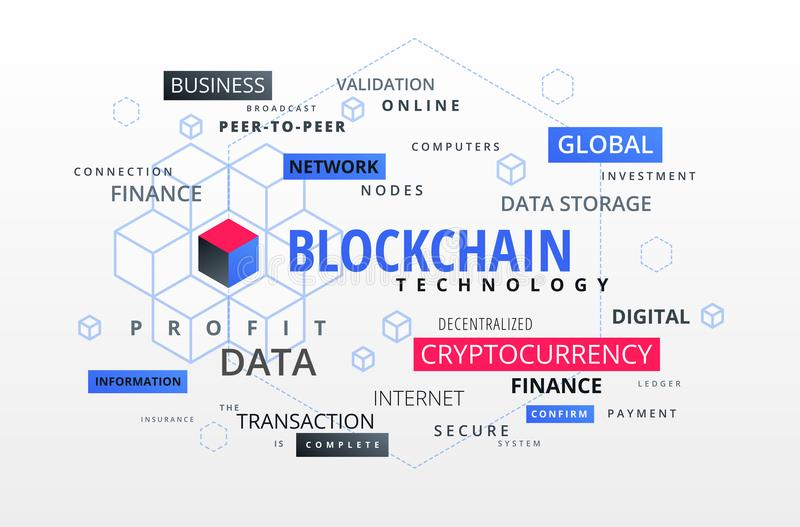 Blockchain infographics text cloud, block chain presentation abs. Tract background illustration royalty free illustration