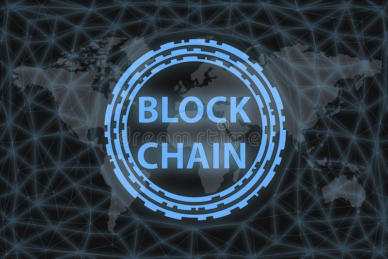 BLOCKCHAIN inscription in a circle in neon design, on a dark background with a network and a world map vector illustration