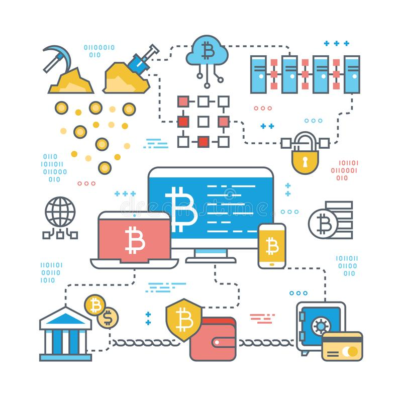 Blockchain and internet cryptocurrency transaction. Bitcoin stock market and finance support vector concept. Financial economy bitcoin market currency vector illustration