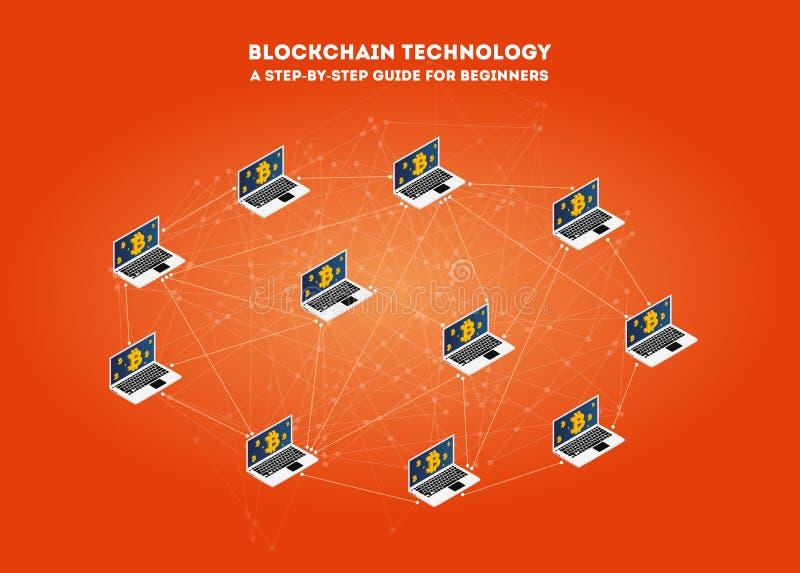 Blockchain isométrico do conceito da rede virtual de transferência de Bitcoin do dinheiro Conceito de projeto moderno da tecnolog ilustração royalty free