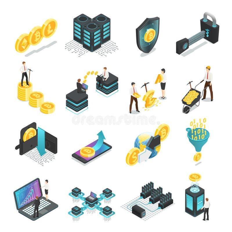 Blockchain isométrico Rede global segura, renda startup da moeda do ico dos símbolos do bitcoin do cryptocurrency, vetor de miner ilustração royalty free