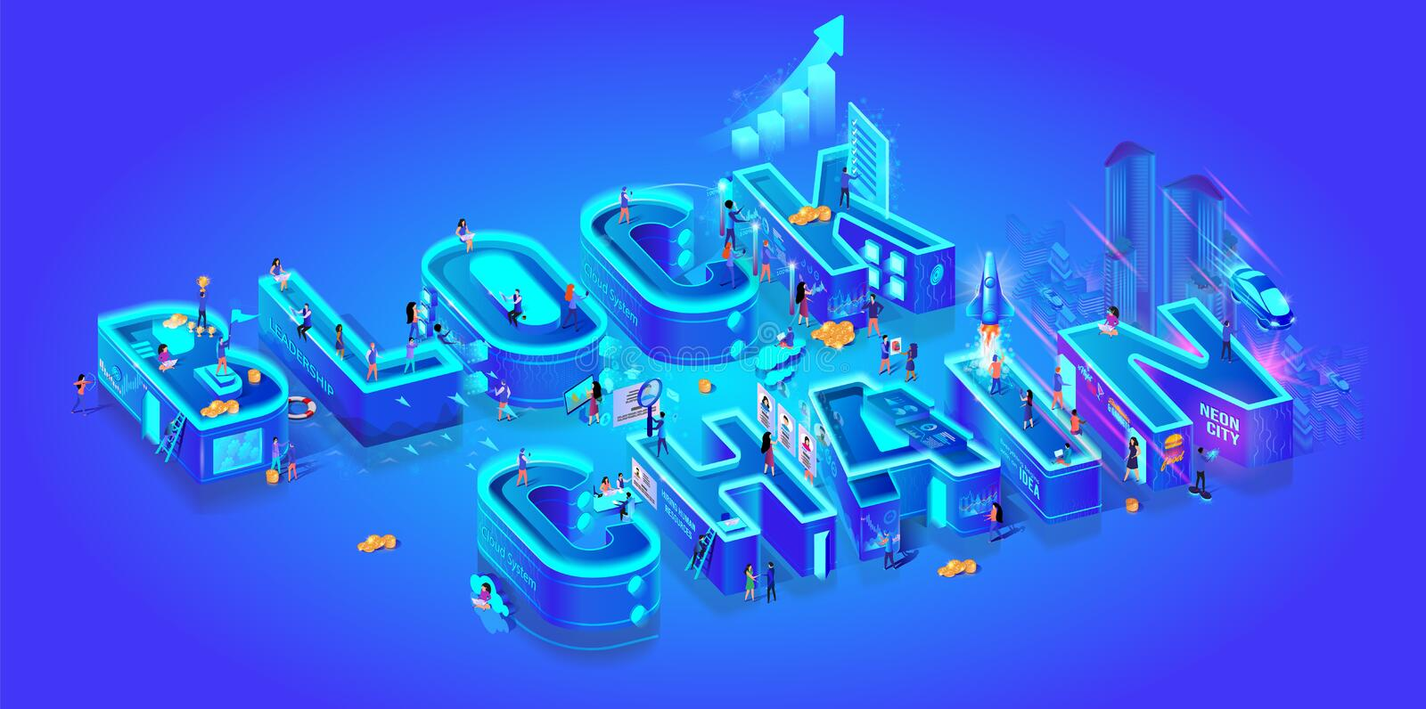 Blockchain. Isometric 3d Word. Cryptocurrency Idea. Farm for Mining Bitcoins. Digital Money Market, Investment, Finance and Trading. Miniature Characters Live royalty free illustration