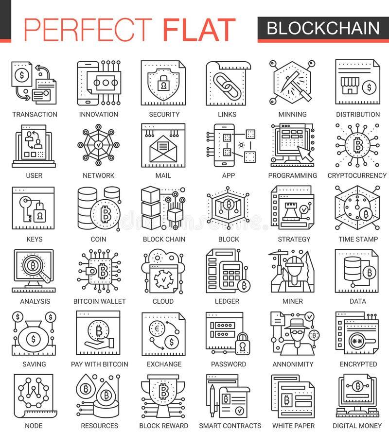 Blockchain konturu pojęcia mini symbole Bitcoin, ethereum cryptocurrency nowożytnego uderzenia liniowe stylowe ilustracje ustawia ilustracji