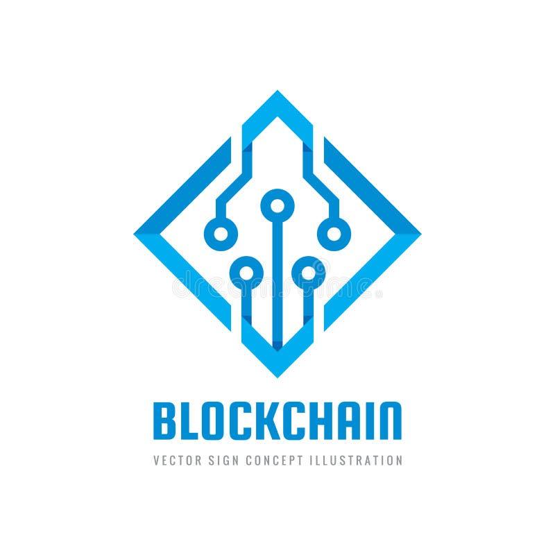 Blockchain - Konzeptgeschäftslogoschablonen-Vektorillustration Kreatives Zeichen der zukünftigen Technologie Digital-cryptocurren vektor abbildung