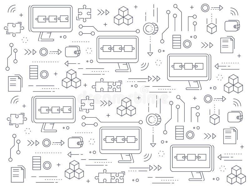 Blockchain-Konzeptmuster Computer angekettet an Netzaustauschinformationen vektor abbildung
