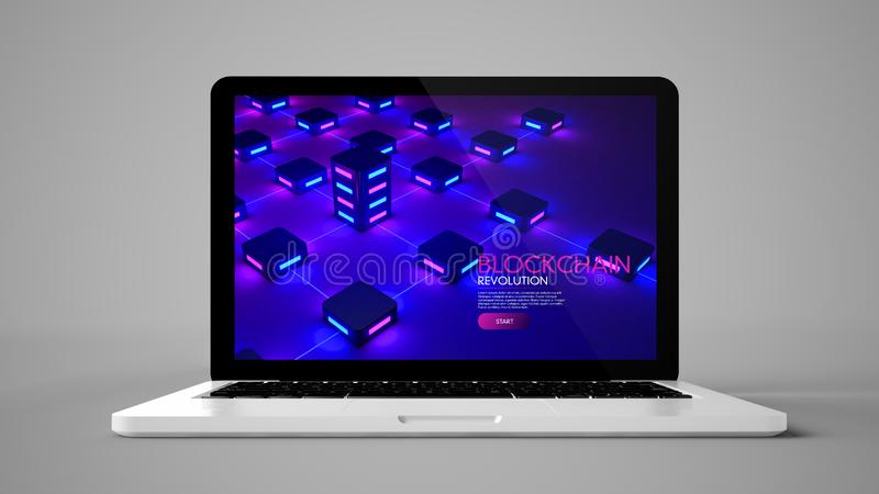 Blockchain on laptop. Laptop on grey background showing blockchain on screen 3d rendering royalty free stock photography