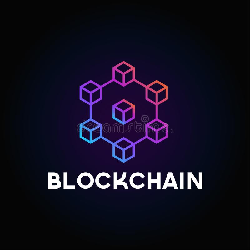 Blockchain line icon logo concept on dark background. Cryptocurrency data sign design. Abstract geometric block chain technology b royalty free illustration