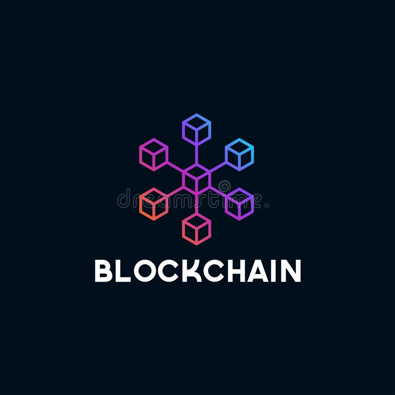 Blockchain line icon logo concept on dark background. Cryptocurrency data sign design. Abstract geometric block chain technology b vector illustration