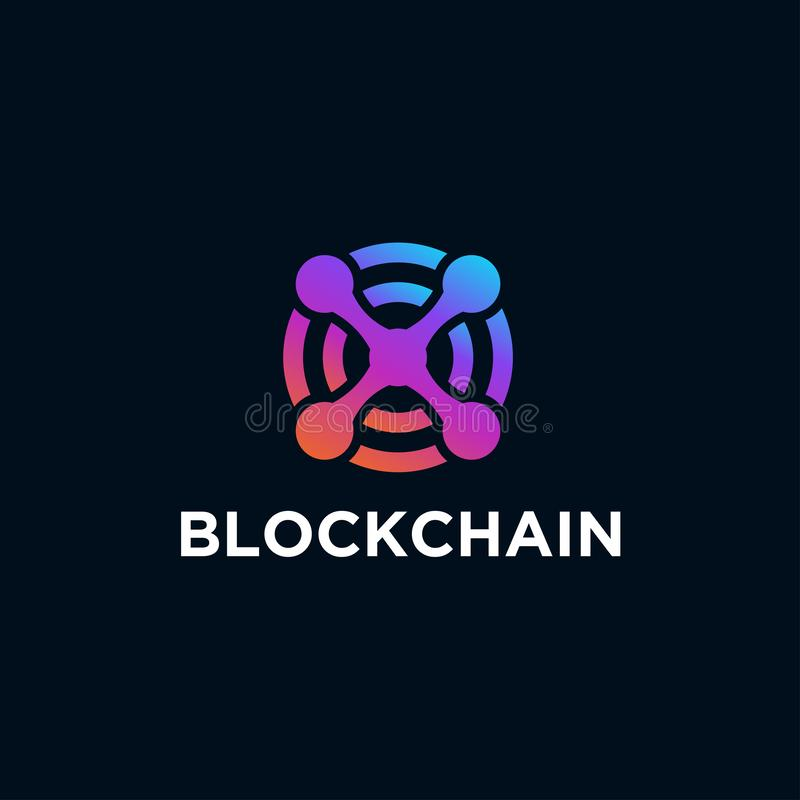 Blockchain line icon logo concept on dark background. Cryptocurrency data sign design. Abstract geometric block chain technology b stock illustration