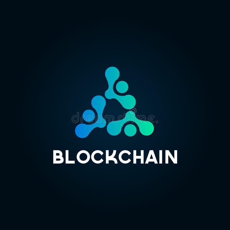 Blockchain linje symbolslogobegrepp på mörk bakgrund Design för Cryptocurrency datatecken Abstrakt geometrisk teknologi b för kva stock illustrationer