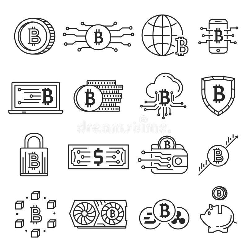 Blockchain linje symbolsuppsättning stock illustrationer