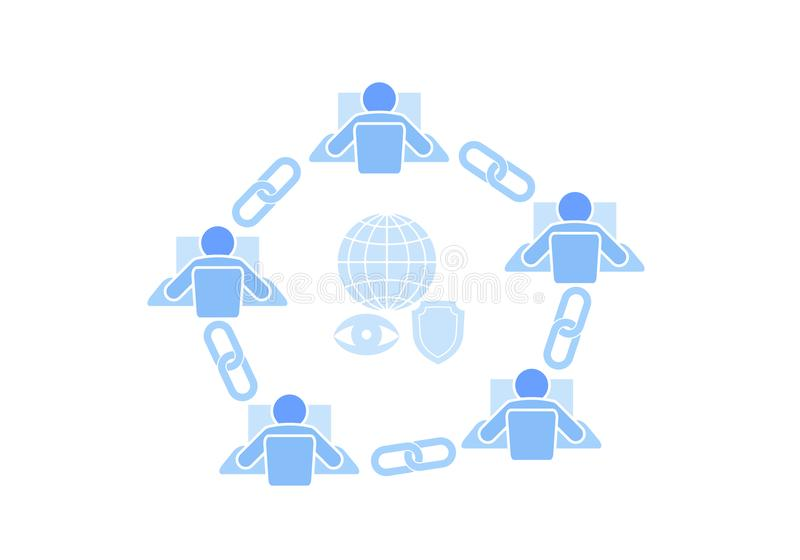 Blockchain link sign connection flat design. Internet technology chain icon hyperlink security business network concept stock illustration