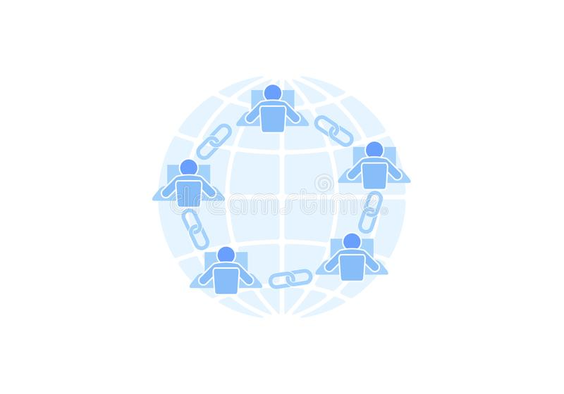 Blockchain link sign connection flat design. Internet technology chain icon hyperlink security business network concept royalty free illustration