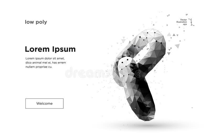 Blockchain link sign low poly design. vector illustration