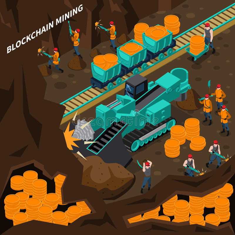 Blockchain Mining Isometric Concept royalty free illustration
